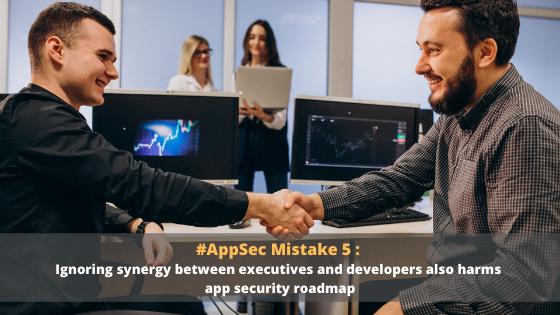 앱 보안 실수 5: 경영진과 개발자 간의 시너지를 무시하면 앱 보안 로드맵에 악영향을 끼칩니다.